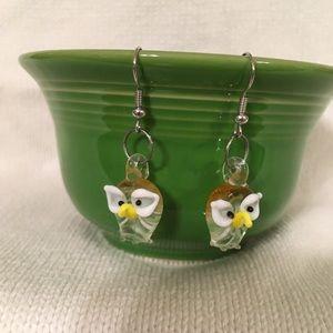 Hand Blown Glass Owl Earrings
